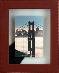 brown leather floating picture frame