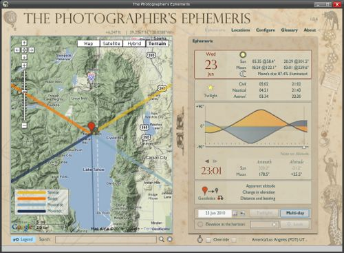 The Photographer's Ephemeris Screen Shot