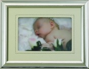 Silver Picture Frame with Ivory Vinyl Mat