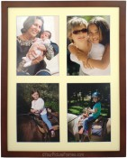Dark Walnut Wood 4 Opening Collage Picture Frame