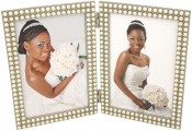 Double Strand of Pearls Double Picture Frame