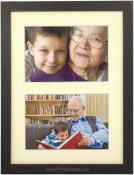 Black Wood Matted Double Picture Frame