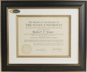 Tuscan Black Archival Matted Diploma Frame