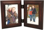 Weathered Antique Brown Double Picture Frame
