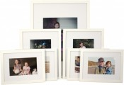 Set of 7 White Matted Gallery Picture Frames