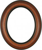 Naomi Vintage Walnut Oval Picture Frame with Gold Lip