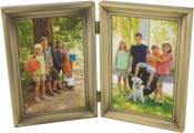 Antique Brushed Brass Hinged Double Picture Frame