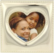 Silver Beaded Heart Picture Frame