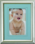 Silver Picture Frame with Blue Vinyl Mat