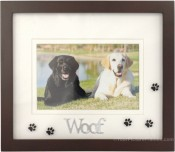 Woof Black Dog Picture Frame