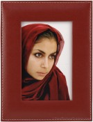 Red Saddle Stitched Leather Picture Frame