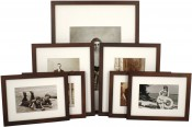 Set of 7 Walnut Matted Gallery Picture Frames