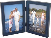 Simple Wood Blue Double Picture Frame