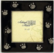 Square Black Jeweled Cat Paws Picture Frame
