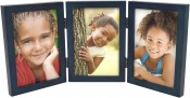 Simple Wood Blue Triple Picture Frame