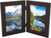 Basic Wood Brown Double Picture Frame