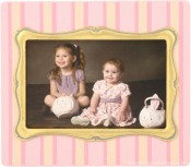 Pink Pinstripe Baby Picture Frame