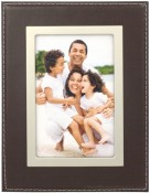 Brown Leather Picture Frame with Silver Trim