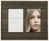 Silver frame with Wood 4x6 Double Mat in Zebra Finish.