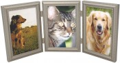 Beaded Pewter Triple Picture Frame