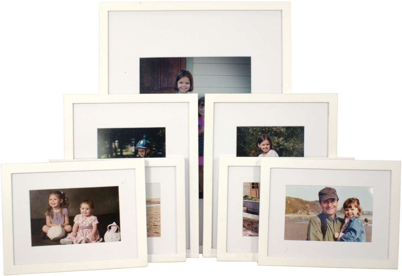 set of 7 white matted gallery picture frames. Black Bedroom Furniture Sets. Home Design Ideas