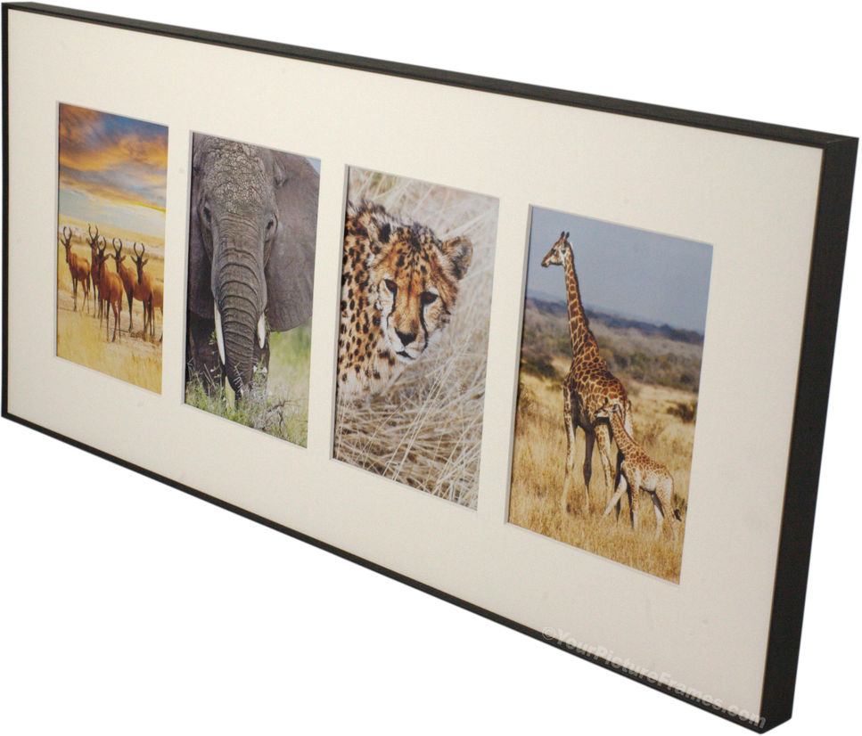 Home Picture Frames Metal Picture Frames Black Metal 4 Opening Matted ...