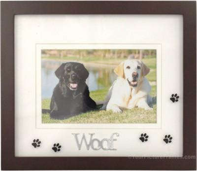 Woof Black Dog Picture Frame