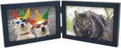 Simple Wood Blue Horizontal Double Picture Frame