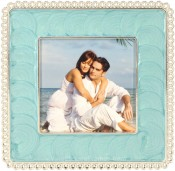Turquoise Enamel Square Picture Frame