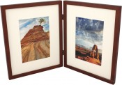 Simple Wood Walnut Hinged Double Picture Frame