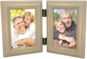 Weathered Antique Grey Double Picture Frame