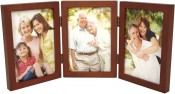 Simple Wood Walnut Triple Picture Frame