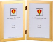 Gold Metal Vertical Double Picture Frame