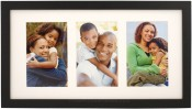 Simple Black Wood Matted Triple Picture Frame