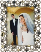 Pewter Beaded Circles Jeweled Picture Frame