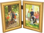 Burnished Gold Leaf Double Picture Frame