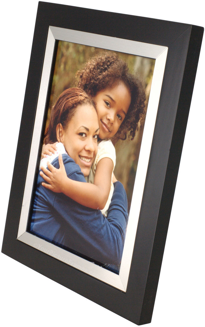 Black And Silver Metal Bezel Wood Picture Frame