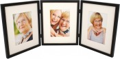 Simple Wood Black Hinged Triple Picture Frame