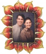 Nancy Red Jeweled Flower Picture Frame