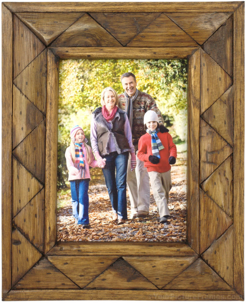 Rustic Triangular Teak Wood Picture Frame