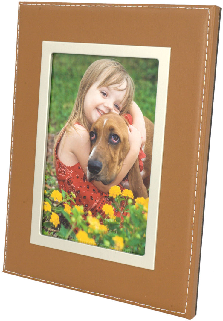 Camel Leather Picture Frame With Silver Trim