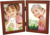 Simple Wood Walnut Double Picture Frame