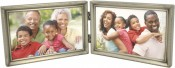 Brushed Pewter Horizontal Double Picture Frame