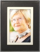 Black Leather Picture Frame with Silver Trim