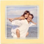 Vanilla Cream Enamel Square Silver Plate Picture Frame