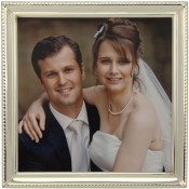 Beaded Narrow Silver Plated Square Picture Frame
