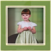 Bright Green Enamel Square Silver Plate Picture Frame