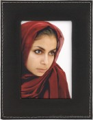 Black Saddle Stitched Leather Picture Frame
