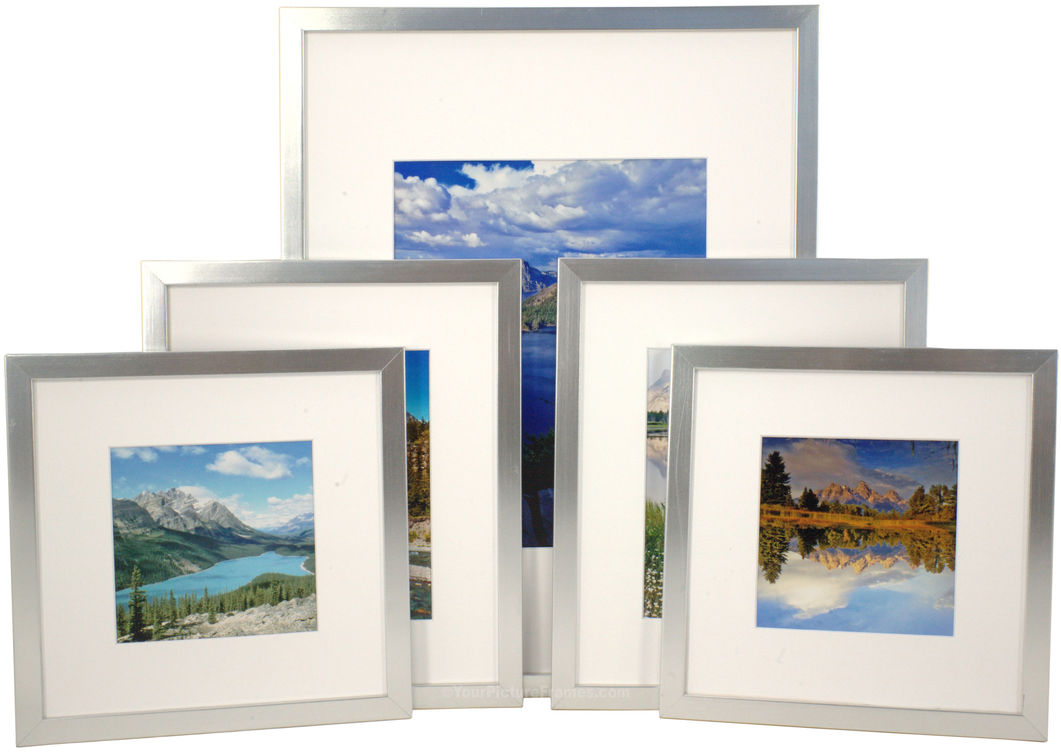 Set of 5 Silver Matted Gallery Picture Frames