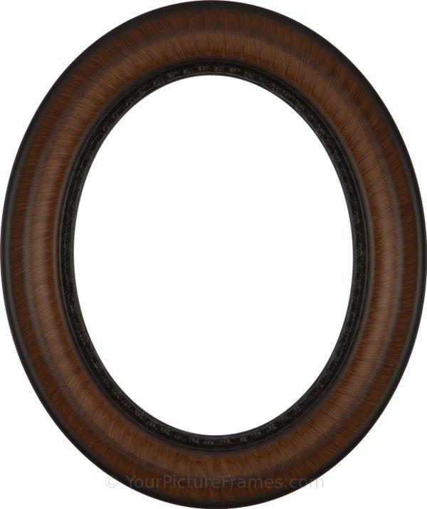 Sara Vintage Walnut Oval Picture Frame